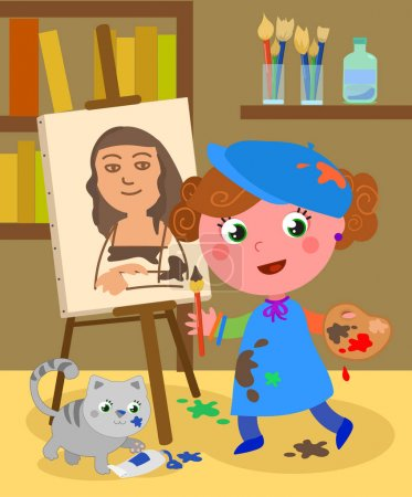 Illustration for Girl painting a Monnalisa in her atelier with palette, brushes, paints and a cute cat. Cartoon vector illustration. - Royalty Free Image