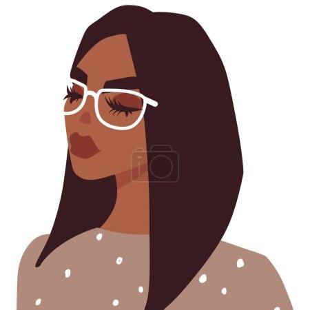 Illustration pour Mignon vecteur fille avatar icône. Joli portrait de dame. Mode jeune femme dans le style plat. Illustration des gens. Beau visage . - image libre de droit