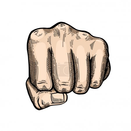 Illustration for Hand gesture sketch. Vector iIllustration isolated on white background. Engraving style. Punch symbol. - Royalty Free Image