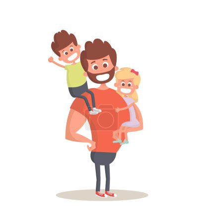 Illustration for Superhero dad concept. Strong Dad holding his two children. Flat style vector icon. Vector Illustration - Royalty Free Image