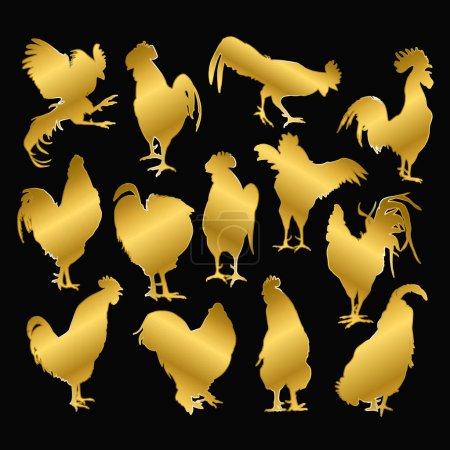 Set of golden rooster on a black background