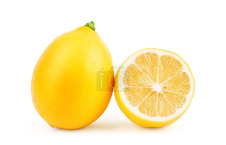 Photo for Yellow ripe lemon isolated on a white - Royalty Free Image