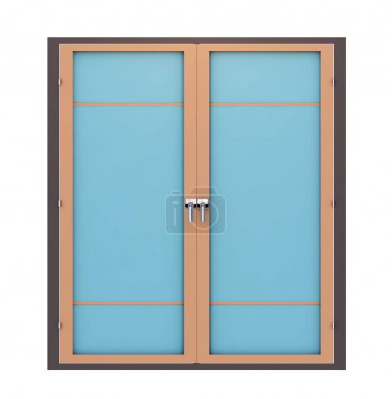 3d render closed plastic window on white background