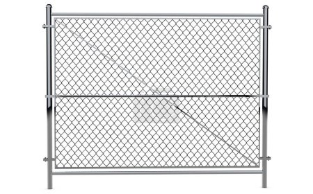 Metal Wire Fence - Isolated A wire fence isolated on white. 3d R