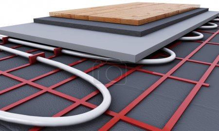 Photo pour Système de plancher chauffant. Nous voyons les couches d'isolant pour le chauffage. rendu 3D - image libre de droit