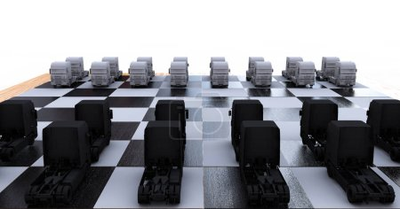 Photo for Trucks on a chessboard 3d render - Royalty Free Image