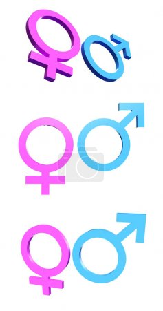 Female Male Gender Symbol Isolated. 3D rendering...