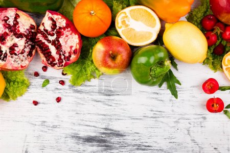 Photo for Fruits and vegetables frame. Copy space. Vegan. Clear food - Royalty Free Image