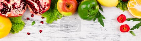 Photo for Banner with Fruits and vegetables frame. Copy space. Vegan. Clear food - Royalty Free Image