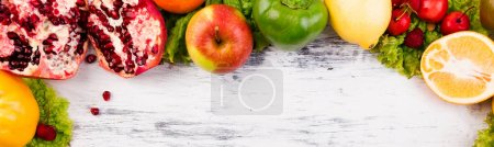 Photo for Banner of Fruits and vegetables frame. Copy space. Vegan. Clear food. Flat lay. - Royalty Free Image