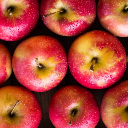 Photo for Apples, red, wooden table - Royalty Free Image