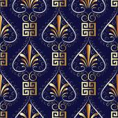 Floral greek key meander seamless pattern Vector ornaments