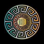 Ancient round ornament Vector gold black blue meander pattern