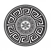 Ancient round ornament Vector isolated black meander pattern