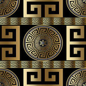 Modern geometric greek seamless pattern Vector gold meander
