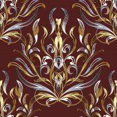 3d gold silver damask seamless pattern Dark red vector floral