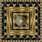 Luxury gold 3d geometric greek key panel pattern  Vector square