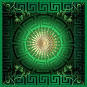 Greek 3d square panel pattern Floral  green vector background