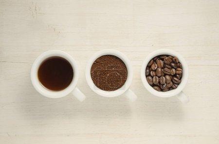 Coffee. Coffee cups and coffee beans.