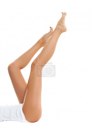 Photo for Beautiful long woman legs with smooth skin after depilation. - Royalty Free Image