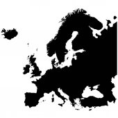 Europe map high resolution Black and white vector illustration