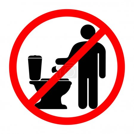Illustration pour Un panneau qui interdit de jeter du papier dans les toilettes. Illustration vectorielle . - image libre de droit