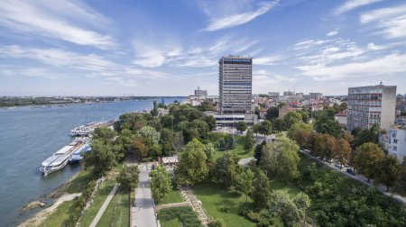 Photo for Aerial view of Ruse, port at Danube river, Bulgaria - Royalty Free Image