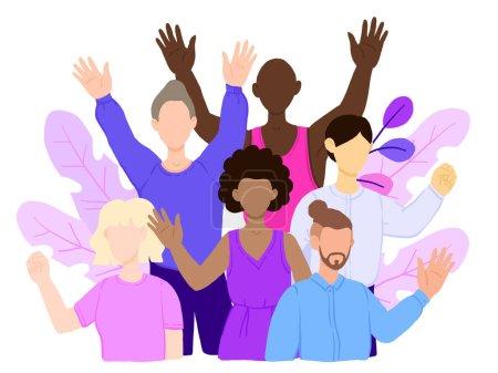 Foto de Grupo multirracial de personas que se unen y se abrazan mutuamente. Concepto de bandera internacional de la solidaridad humana. Moderno y elegante estilo. icono del personaje ilustrativo del vector. - Imagen libre de derechos