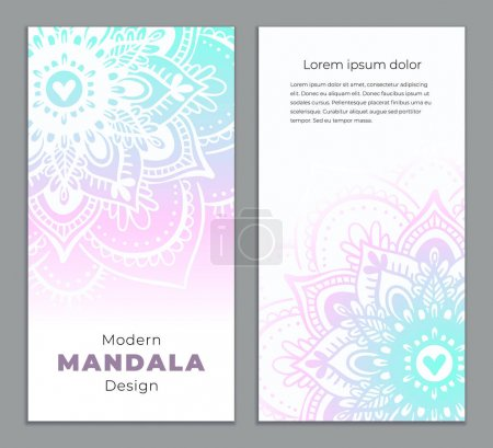 Illustration for Abstract mandala banner design. Vector creative illustration with oriental boho elements. Violet color theme flyers template. - Royalty Free Image
