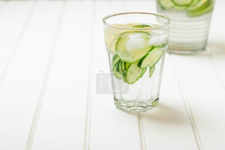 Water detox with cucumber and lemon.