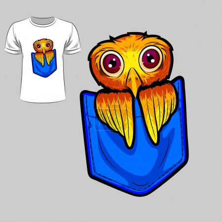 Illustration for Abstract graphic design of owl for t-shirt or banner print. Vector illustration - Royalty Free Image
