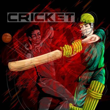 Concept of sportsman playing Cricket match sport