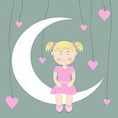 Beautiful cute girl sitting on the moon