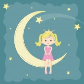 Beautiful cute girl princess sitting on the moon