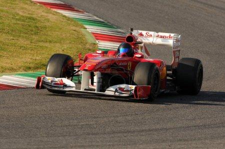 Unknown run with Ferrari F1 into the mugello circuit  in italy