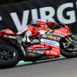 Постер, плакат: San Marino Italy May 12 2017: Ducati Panigale R of Aruba it Racing Ducati SBK Team driven by DAVIES Chaz in action during the qualifying session on May 12 2017 in Imola Circuit Italy