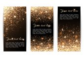 Set of banners with sparkles on a black backgroun