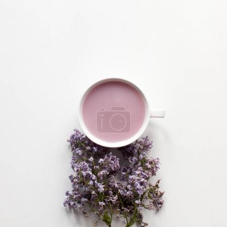 Fruit tea white cup. Jelly milk drink
