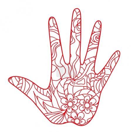 Photo pour La main. Elément dessiné à la main avec des motifs abstraits sur fond d'isolement. Conception pour la relaxation spirituelle pour les adultes. Création d'art linéaire. Illustration en noir et blanc pour la coloration. Impression pour t-shirts - image libre de droit