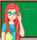 Red-haired girl with book