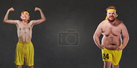 Photo for Comical and funny fat and thin athletes. - Royalty Free Image