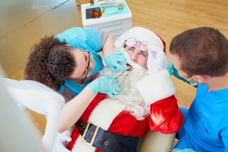 Santa Claus at a reception at the dentists office in the Christ