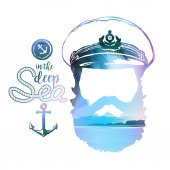 Double effect of captains Portrait Beard forage cap anchor rope Vector illustration Vintage nautical clubs and bars logo and emblems