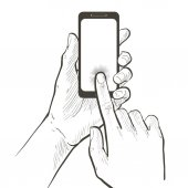 two hands holding and touching smart phone