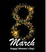 8 march postcard Glitter digit eight made of many shiny dots on black background Glowing International women`s day banner or poster or card Vector illustration