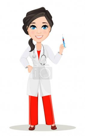 Doctor woman with stethoscope. Cute cartoon smiling doctor character in medical gown holding syringe with vaccine. Vector illustration. EPS10