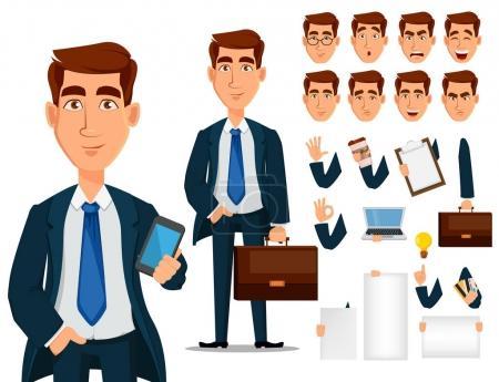 Illustration pour Homme d'affaires en costume formel, jeu de création de personnage de dessin animé. Jeune homme d'affaires souriant dans des vêtements de bureau. Construisez votre design personnel - vecteur de stock - image libre de droit