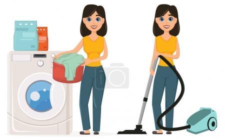Illustration pour Femme au foyer lave les vêtements dans la machine à laver aspirant la maison avec un aspirateur, ensemble. Jolie femme qui fait du ménage. Un personnage de bande dessinée. Illustration vectorielle - image libre de droit