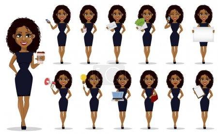 Illustration pour Femme d'affaires afro-américaine jeu de caractères de dessin animé. Jeune belle femme d'affaires aux cheveux foncés en vêtements décontractés intelligents. Vecteur de stock - image libre de droit