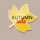 Autumn sale banner with yellow fall tulip tree leaf